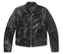 Slim-fit Leather Biker Jacket - Black