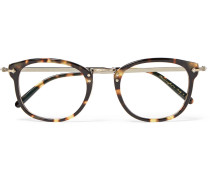 Op-506 D-frame Tortoiseshell Acetate And Burnished Gold-tone Optical Glasses - Brown