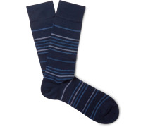 Striped Pima Cotton-blend Socks