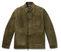 Shearling-lined Suede Field Jacket - Green