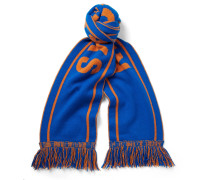 + Nba New York Knicks Fringed Intarsia Cashmere Scarf
