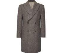 Slim-fit Double-breasted Herringbone Wool Coat