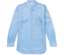 Crinkled-satin Shirt - Blue