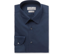 Navy Slim-fit Stretch Cotton-blend Shirt - Navy