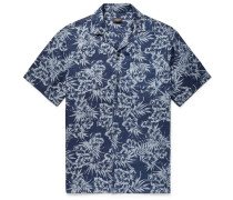 Slim-fit Camp-collar Printed Linen Shirt