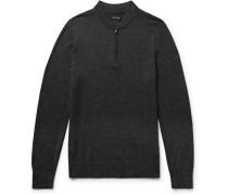 Slim-fit Mélange Merino Wool Half-zip Sweater
