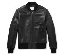 Leather Bomber Jacket - Black