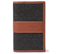 Leather-trimmed Pebble-grain Coated-canvas Cardholder