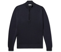 Tapton Merino Wool Half-zip Sweater - Midnight blue