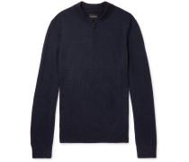Merino Wool Half-zip Sweater - Navy