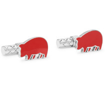 Year Of The Pig Sterling Silver And Enamel Intrecciato Cufflinks - Red
