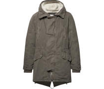 Shearling-trimmed Cotton Hooded Parka With Detachable Down Lining - Army green