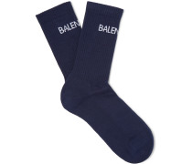 Intarsia Stretch Cotton-blend Socks - Navy