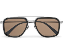 Aviator-style Acetate And Brushed Silver-tone Sunglasses - Black