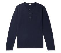 Pima Cotton-jersey Henley Pyjama T-shirt - Navy