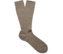 Ribbed Merino Wool-blend Socks