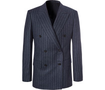 Blue Double-breasted Pinstriped Wool Suit Jacket - Blue
