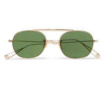 Van Buren Folding Aviator-style Gold-tone Sunglasses