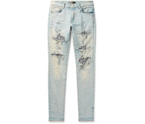 Skinny-fit Sequin-embellished Distressed Stretch-denim Jeans - Light blue