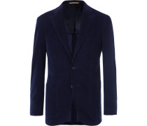 Midnight-blue Kei Slim-fit Cotton-corduroy Suit Jacket