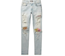 Mx1 Skinny-fit Panelled Distressed Stretch-denim Jeans - Light blue