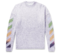 Oversized Printed Mohair-blend Sweater - Gray