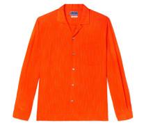 Camp-collar Striped Brushed-twill Shirt - Orange