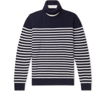 Striped Virgin Wool Rollneck Sweater