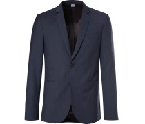 Slim-fit Checked Wool-blend Suit Jacket - Navy