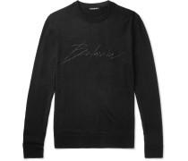 Slim-fit Logo-embroidered Virgin Wool Sweater - Black