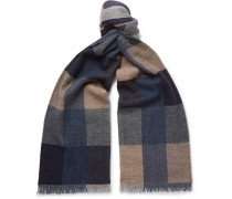 Cevedale Fringed Checked Virgin Wool-blend Scarf - Navy