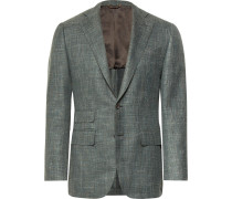 Grey-green Slim-fit Mélange Wool, Silk And Linen-blend Blazer