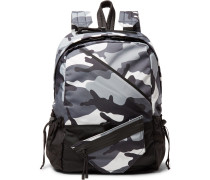 Valentino Garavani Shell-trimmed Camouflage-print Canvas Backpack - Gray