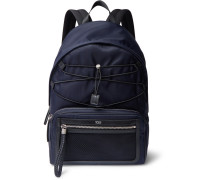Leather-trimmed Canvas Backpack - Navy
