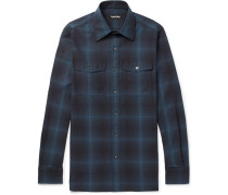 Slim-fit Checked Cotton Shirt - Blue