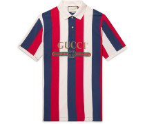Logo-print Striped Cotton-piqué Polo Shirt