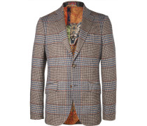 Brown Slim-fit Prince Of Wales Checked Cotton And Wool-blend Suit Jacket