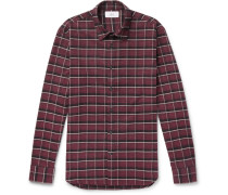 Checked Brushed Cotton-flannel Shirt - Red