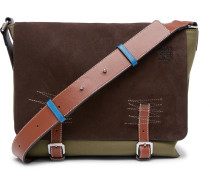 Leather-trimmed Suede And Canvas Messenger Bag