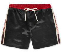Wide-leg Webbing-trimmed Satin-twill Shorts - Black