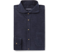 Navy Slim-fit Cutaway-collar Cotton-corduroy Shirt