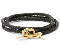 Quill Woven Leather And Gold-plated Wrap Bracelet - Black