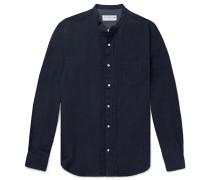 Nathan Grandad-collar Pleated Cotton And Linen-blend Shirt - Midnight blue