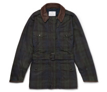 + Mackintosh Merlin's Leather-trimmed Checked Waxed-cotton Field Jacket