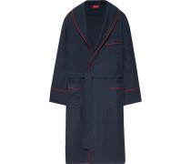 Piped Cotton And Cashmere-blend Twill Robe