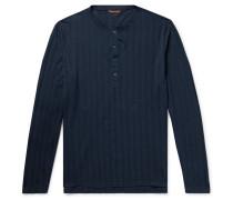 Tatara Striped Cotton-piqué Henley T-shirt - Storm blue
