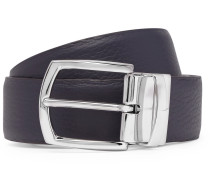 3cm Navy And Brown Reversible Leather Belt