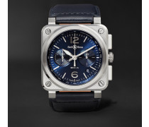 Br 03-94 42mm Steel And Leather Chronograph Watch