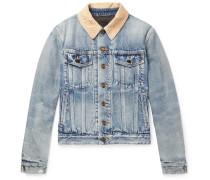 Distressed Corduroy-trimmed Denim Jacket