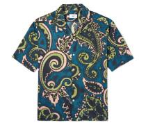 Camp Collar Paisley-print Cotton-canvas Shirt - Teal